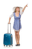 The woman ready for summer travel isolated on Stock Photography