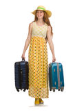 The woman ready for summer travel isolated on Stock Images