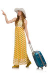 The woman ready for summer travel isolated on Royalty Free Stock Photos