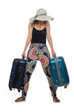 The woman ready for summer travel isolated on Stock Image