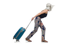 The woman ready for summer travel isolated on Stock Photo