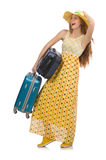 The woman ready for summer travel isolated on Royalty Free Stock Image