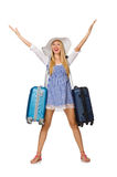 The woman ready for summer travel isolated on Royalty Free Stock Images