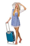 The woman ready for summer travel isolated on Royalty Free Stock Photo