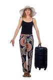 Woman ready for summer travel on white Stock Images