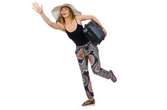 Woman ready for summer travel on white Stock Photography