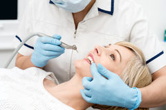Woman ready for a teeth whitening. Stock Photography