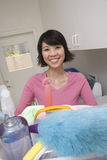 Woman Ready To Clean Home Royalty Free Stock Photography
