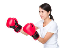 Woman ready to fight. Isolated on white background stock photography