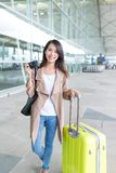 Woman ready to go travel. Beautiful young asian woman Stock Photos