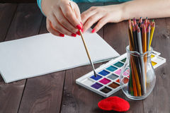 Woman ready to learn painting Stock Photography