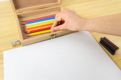 Woman ready to make a drawing Stock Image