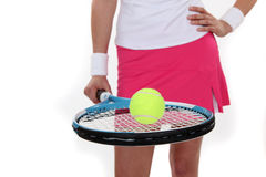 Woman ready to play tennis Stock Image