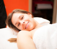 Woman ready to receive a treatment. In a beauty farm Stock Photography