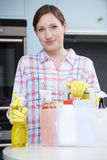 Woman Ready To Start Cleaning House Stock Photos