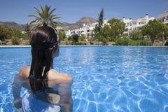 Woman ready to swim Royalty Free Stock Photos