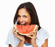 Woman ready to take a bite out of watermelon Royalty Free Stock Images
