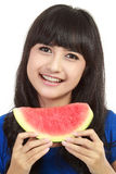 Woman ready to take a bite out of watermelon Royalty Free Stock Photos