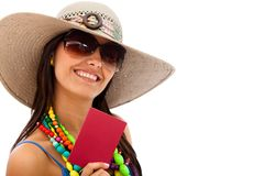 Woman ready to travel Royalty Free Stock Photos