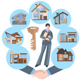 Woman real estate agent, building, key, house Stock Photos