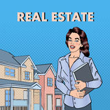 Woman Real Estate Agent. Female Broker Near New House. Pop Art. Vector illustration Royalty Free Stock Photography