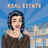 Woman Real Estate Agent Holding Keys from New House. Pop Art. Vector illustration royalty free illustration