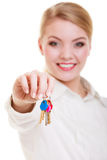 Woman real estate agent holding set of keys Stock Photography