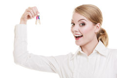 Woman real estate agent holding set of keys Stock Photo