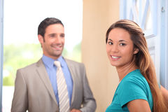 Woman and real estate promoter Stock Photos