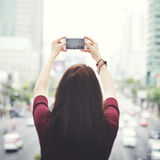 Woman Rear View Photography Traveling City Life Concept.  Royalty Free Stock Image