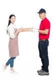 Woman receipt of package delivery Royalty Free Stock Photo
