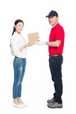 Woman receipt of package delivery Stock Photography
