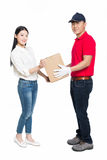 Woman receipt of package delivery Stock Photos