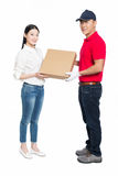 Woman receipt of package delivery Royalty Free Stock Photos