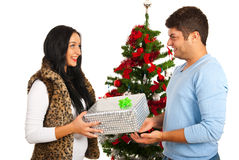 Woman receive Christmas present Royalty Free Stock Images
