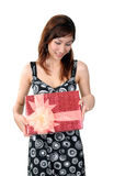 Woman receive gift. On white background Stock Images