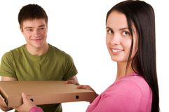 Woman receive for a package Stock Photo
