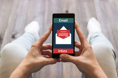 The woman received an e-mail online. Message online icon. Royalty Free Stock Image