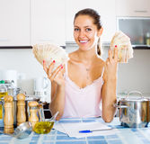 Woman received interest on deposits Royalty Free Stock Photo