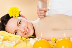 Woman receiving acupuncture treatment in spa Royalty Free Stock Image