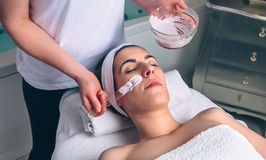 Woman receiving facial mask from beautician in spa Stock Photo