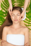 Woman receiving facial massage Stock Photo