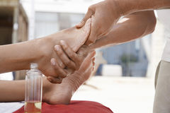 Woman Receiving Foot Massage Royalty Free Stock Images