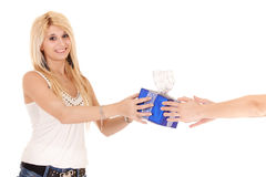 Woman receiving gift. Blond woman receiving gift isolated on white Royalty Free Stock Photography