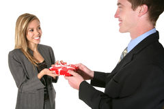Woman Receiving a Gift Royalty Free Stock Photos