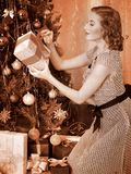 Woman receiving gifts.  Black and white retro. Royalty Free Stock Photography