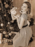 Woman receiving gifts.  Black and white retro Stock Photography