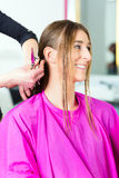 Woman receiving haircut from hair stylist or hairdresser Royalty Free Stock Photos
