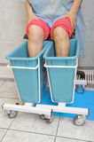 Woman receiving heat therapy on legs. Recovery of legs joint function stock photos