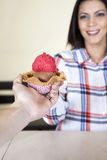 Woman Receiving Ice Cream In Waffle From Waiter Royalty Free Stock Image